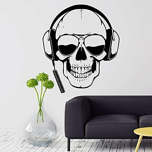 Cool Fashion Sunglass Skull Gamer Headset Headset Skeleton Enjoy Music Vinilo Etiqueta de la pared Calcomanía para automóvil Dormitorio de niño Sala de juegos Club Studio Decoración para el hogar