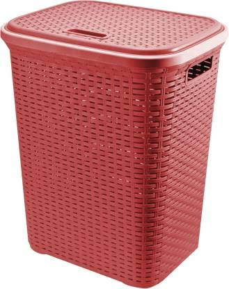 Esquire Rattan 50 L Capacity Laundry Basket/Laundry Bag (Maroon)
