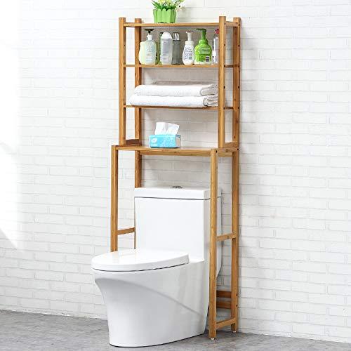 QXTT Estante De Almacenamiento De Madera De 2/4 Niveles para Baño WC Encima del Inodoro Retrete Organizador Compacto,4Tier