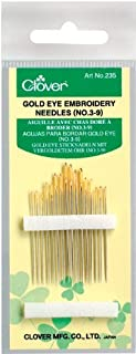 Clover 235 No. 3-9 Gold Eye Embroidery Needles, Pack of 16