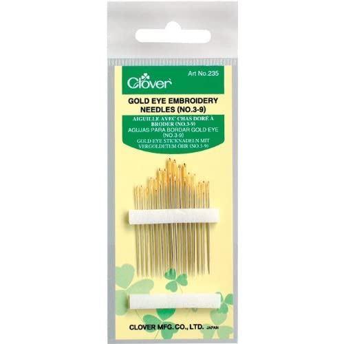 Clover Gold Eye Embroidery Needles Mixed Pack of 16 Gold Needles Sizes 3-9