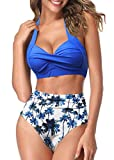 AOQUSSQOA Mujeres Tankini de Dos Piezas Trajes de baño Cintura Alta Halter Vintage Bikini Set Traje de baño para Mujer (1BFloral, S)