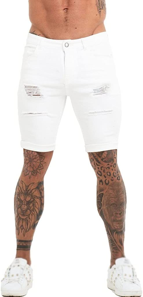 CFSNCM Mens Shorts Jeans Denim Shorts Black High Waist Ripped Summer Jeans Shorts for Men Plus Size Casual Streetwear (Color : A, Size : 28)