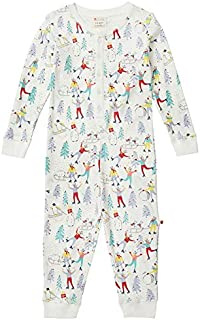 Piccalilly Grenouillère de Noël pour enfants, en jersey de coton bio doux, imprimé Winter Wonderland