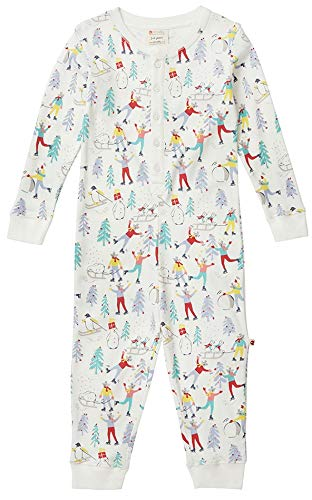 Piccalilly Combinaison de Noël pour enfant en jersey de coton bio doux Imprimé Winter Wonderland - Blanc - 2 ans