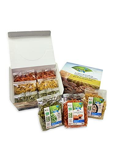 Pasta di legumi Bio senza glutine ** Box Classic 6pz ** Fusilli Piselli Verdi(x2), Fusilli Lenticchie Rosse(x2), Fusilli Ceci(x2)-