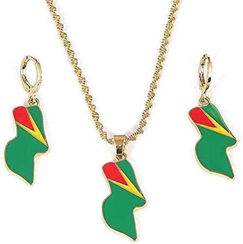 ZJJLWL Co.,ltd Collar de Acero Inoxidable Bandera de Guyana Colgante Collar Pendientes República de Guyana Conjuntos
