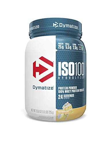 Dymatize ISO100 Hydrolyzed Protein Powder, 100% Whey Isolate Protein, 25g of Protein, 5.5g BCAAs, Gluten Free, Fast Absorbing, Easy Digesting, Birthday Cake, 1.6 Pound