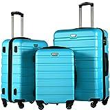 COOLIFE Hartschalen-Koffer Trolley Rollkoffer Reisekoffer mit TSA-Schloss und 4 Rollen (Himmel blau, Koffer-Set)