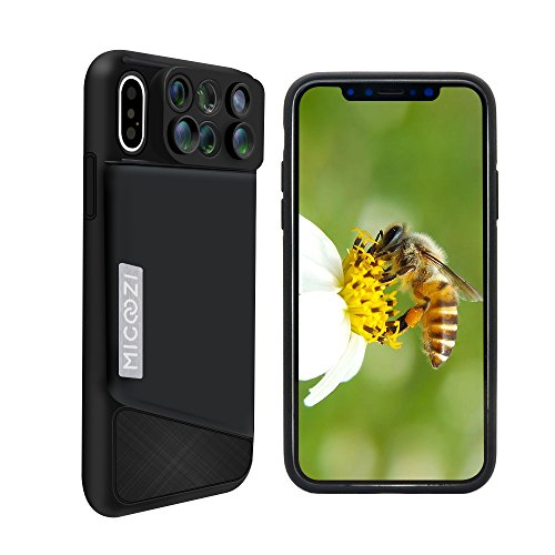 MIGOOZI iPhone XS Lens, iPhone X Lens, 6 in1 Dual Camera Lens kit (160 Degree Fisheye, 0.65X Super Wide Angle Lens, 10X/20X Zoom Macro, Telescope Lens) met Telefoonhoesje Cover Voor Apple iPhone X XS