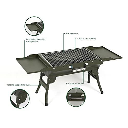 41szKg0mjfS. SL500  - WENYOG BBQ Grill Mini-zusammenklappbarer tragbarer Grill-Camping im Freiengrill-Ständer-Klappkohle-BBQ-Grillgitter-Grillzubehör Werkzeuge Faltbarer Grill (Color : Green Grill)