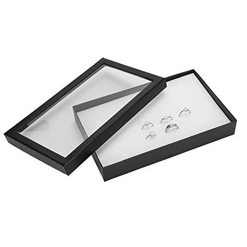 Sieraden-opbergdoos, gevlokt, met 36 vakken, milieuvriendelijk en zacht, dienbladen voor het presenteren van sieraden, grote capaciteit, met transparante kunststof plaat voor horloges