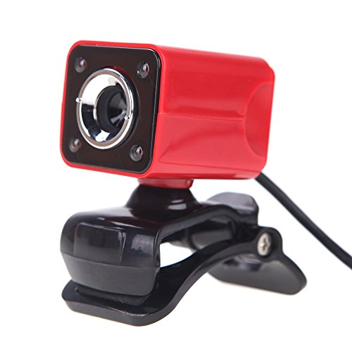 Staright USB 2.0 12 Megapixel HD Camera Web Cam with MIC Clip-on Night Vision 360 Degree for Desktop Skype Computer PC Laptop Red Shell