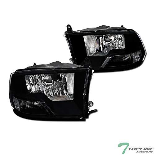 Topline Autopart Dual Headlamp Style Black Clear Housing Headlights Signal nb For 09-18 Dodge Ram 1500/19-20 Classic / 10-18 2500 3500