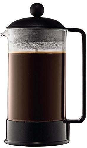 Bodum Brazil French Press 8 Cups 1 L Cafetera émbolo, Vidrio, plástico, Acero, Negro, Centimeters