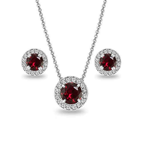 Sterling Silver Synthetic Ruby and White Topaz Round Halo Necklace and Stud Earrings Set