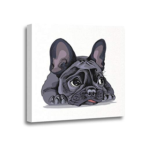 Ansouyi 12x12 Inches Canvas Wall Art Painting Dog French Bulldog Portrait Funny Hand Puppy Sad Bored Home Decorative Artwork Prints