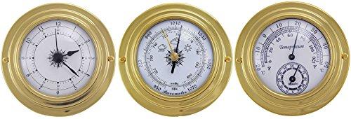 3 analoge Instrumente Ø 10 cm aus massivem Messing im Nautikstil zur Bestimmung der Uhrzeit (12h Anzeige), des Luftdruckes, der Luftfeuchtigkeit und der Temperatur