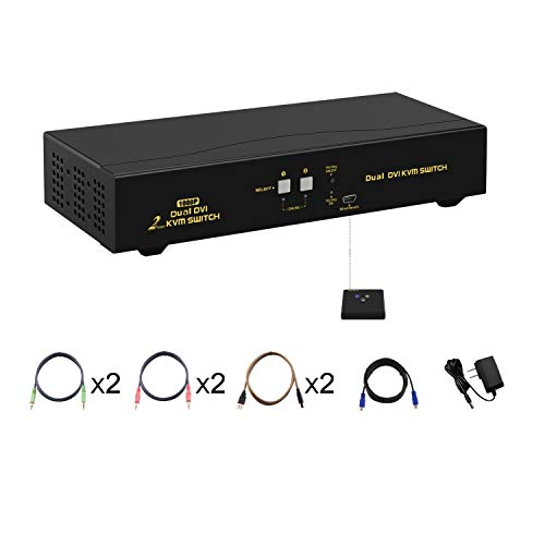 CKLau 2 Port KVM Switch DVI Dual Monitor Extended Display with Audio, Microphone and USB 2.0 Hub