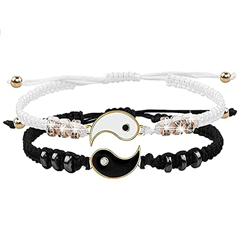 Duyifan 2 Matching Yin Yang Adjustable Cord Bracelet for Friendship, Personalized Matching Puzzle Tai Chi Charm Bracelet Boyfriend Girlfriend Valentines Jewelry