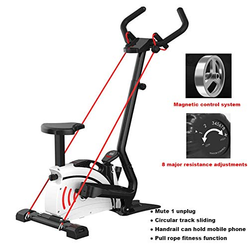 Bicicleta estática, cinta de correr estacionaria para ciclismo en interiores, paso a paso elíptico, entrenamiento plegable en silencio silencioso Control magnético para entrenamiento en bicicleta Equipo deportivo