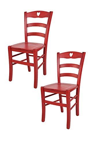 Tommychairs - 2er Set Stühle Cuore für Küche und Esszimmer, Robuste Struktur aus Buchenholz, in Anilinfarbe Rot lackiert und Sitzfläche aus Holz