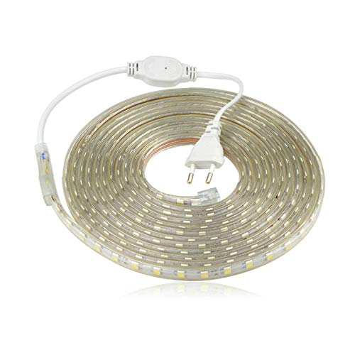 Ruban à LED, Bande LED Etanche, Lumineux Bandeau Led 220v, 5050 IP65 Etanche Bande Strip Led, Blanc chaud (3m)