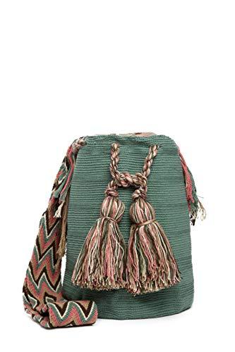 Bolso Wayuu Artesanal, Verde, Original De Colombia