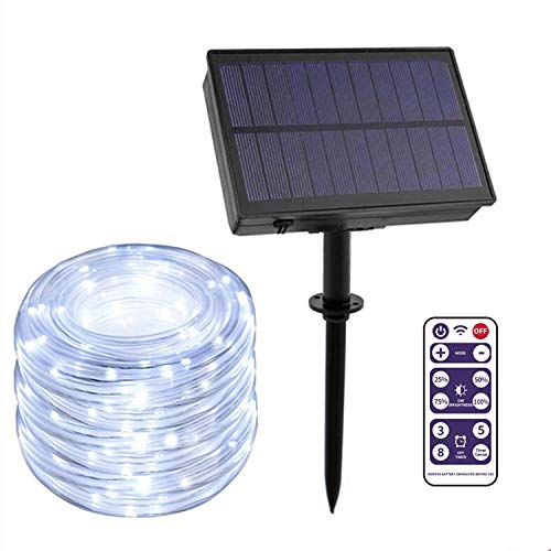 LEOHOME Outdoor String Lights Solar Powered with Remote/Timer/Dimmer, 72ft 200 LED Solar Outdoor Rope Lights for Garden Porch Backyard Pergola Tents Cafe Bistro Wedding Party Decor (White-200LED)