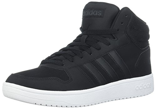 adidas Men's Hoops 2.0 Mid Sneaker, Black/Black/Carbon, 10.5 M US