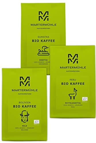 Martermühle | Bio Kaffee Probierset (3 x 250g) | Ganze Bohnen | Premium Kaffeebohnen aus aller Welt | Schonend geröstet | Kaffee säurearm | 100% Arabica
