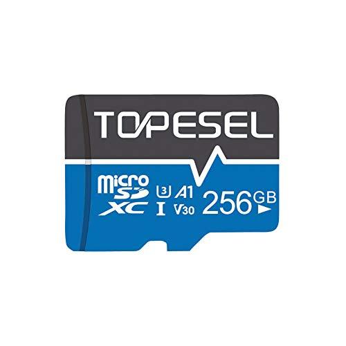 Micro SD-Karte 256GB TOPESEL Micro SD Karte Speicherkarte MicroSD SDXC High Speed 90 MB/s Memory Card U3, V30, A1 Mini TF Karte für Handy Samsung Huawei, Blau