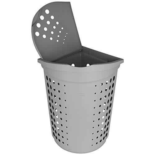 TW24 Curver Eck-Wäschekorb mit Deckel 40L grau Wäschetruhe Wäschebox Wäschesammler Wäschekiste