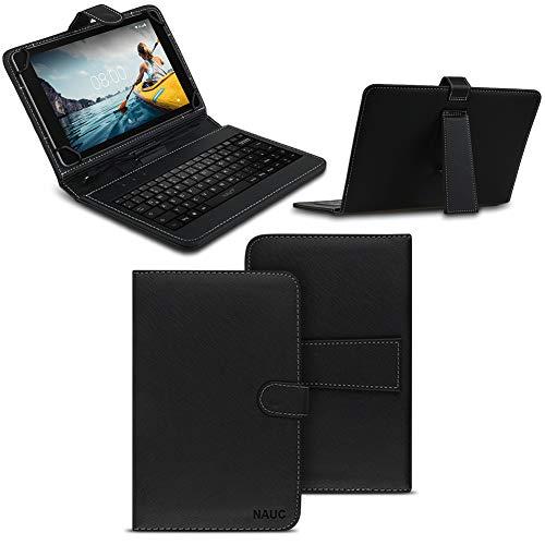 NAUC Tablet Tasche kompatibel für Medion Lifetab P8912 Keyboard USB Hülle Tastatur QWERTZ Schutzhülle Kunstleder Cover Universal Case Schwarz