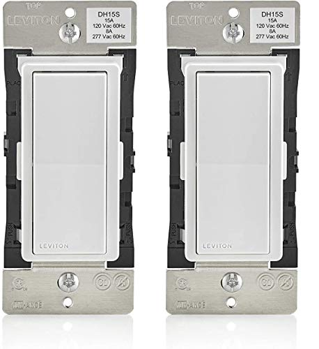 Leviton DH15S-1BZ 15A Decora Smart with HomeKit Technology Switch, No Hub Required, 1-Pack, White - 2 Pack