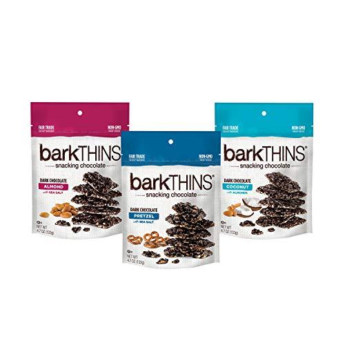 barkTHINS Dark Chocolate Almond, Pretzel, Coconut with Almonds Snacking Chocolate, Valentine's Day Candy, 4.7 Oz. Bags (3 ct)