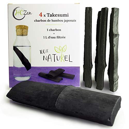 HCZen Takesumi 4X - Charbon Binchotan de Bambou, Filtre au Charbon Actif de Bambou pour Eau