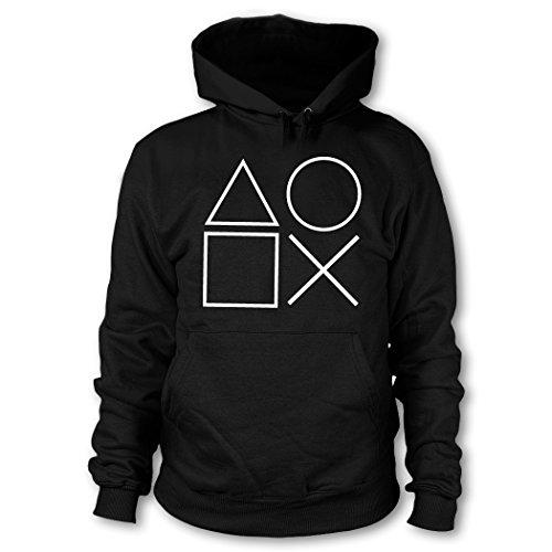 shirtloge - Gaming Symbols - Kult Gamer - Kapuzenpullover - Schwarz (Weiß) - Größe M