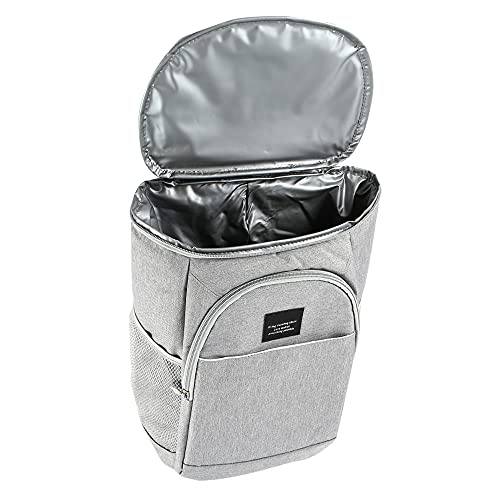 21L Kühl Rucksack, Kühlrucksack Kühltasche Picknicktasche Groß Isoliert Cooler Bag für Strand, Picknick, Camping, BBQ, Wandern (grau)
