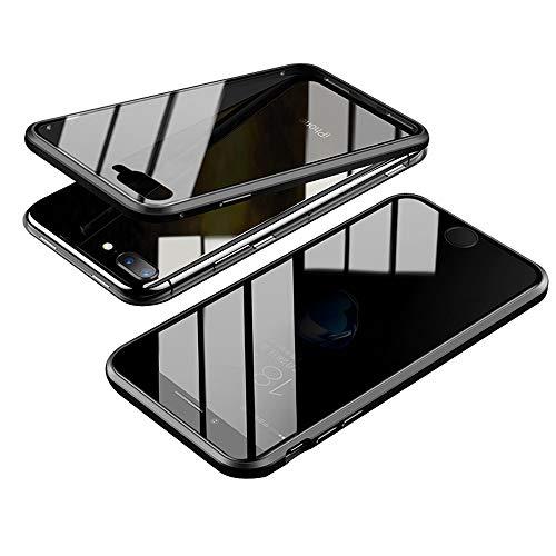 Jonwelsy Anti-Spy Cover per iPhone 8 Plus (5,5 Pollice), 360 Gradi Protezione Case, Privacy Vetro Temperato Anti Peep Custodia, Adsorbimento Magnetico Bumper Metallo Frame per iPhone 7 Plus (Nero)