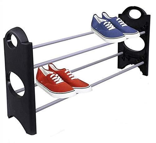 VERK GROUP Scarpiera per 6 paia di scarpe, piccola, sottile ed espandibile, 63 x 20 x 34 cm, colore: nero e cromato
