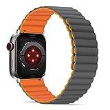 Tasikar Correas Compatible con Correa Apple Watch 44mm 42mm, Pulsera de Repuesto de Silicona con Fuerte Cierre Magnético [Usable Doble Cara] para iWatch Series 6 5 4 3 2 1 SE - (Naranja-Gris)