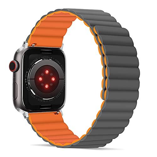 Tasikar Armband Kompatibel mit Apple Watch Armband 42mm 44mm, Upgrade Herren Damen Silikon Magnetverschluss [Doppelseitig Tragbar] Ersatzarmband für iWatch SE Series 6/5/4/3/2/1 (Orange-Grau)