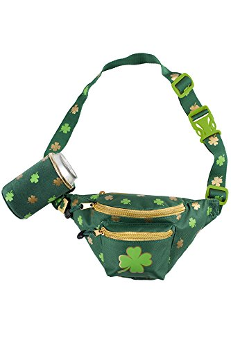 Green and Gold St. Patrick's Day Clover Fanny Pack w/Drink Holder - St. Paddy's Day Clothing Accessories