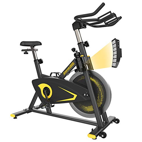 XGEAR Exercise Bike, Magnetic Resistant Spin Bike, Belt Drive Indoor Cycling Bike, Heavy Chromed Flywheel, Heart Rate Sensor Stationary Bike for Home Cardio Workout Aerobic Training