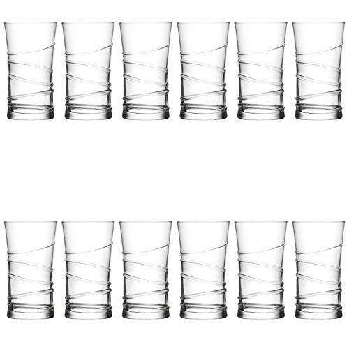 technic24 LAV 12 teiliges Wassergläser Saftgläser Trinkgläser Getränkegläser Serie Ring 350 ml Durchmesser 75 mm