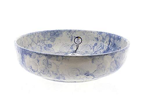 CERÁMICA RAMBLEÑA   Ensaladera cerámica   Ensaladeras Originales   Ensaladeras decoración Azul - Modelo 09   Decoración 100% Hecho a Mano   30x30x8 cm