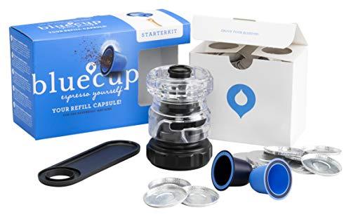 BLUECUP Wiederbefüllbare Kapsel Nespresso, Nachfüllbare Kapseln kompatibel mit Nespresso-Maschinen (Original Linie), Starterpaket [2 Kapseln + 1 Löffel + Cup Creator + 100 Deckel]