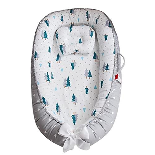 Hainice Baby Nest para recién Nacidos y bebés, Doble Cara, Baby Bassinet para Cama/Tumbona/Nido/Vaquera/Cuna/Dormir, Transpirable, 100% hipoalergénico de algodón, con Almohada, portátil