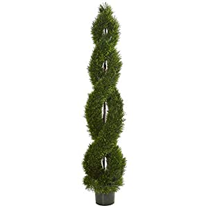 Nearly Natural 7.5' Double Pond Cypress Spiral Topiary Artificial UV Resistant (Indoor/Outdoor) Silk Trees Green